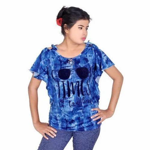 Xl Cotton Womens Blue Printed Top