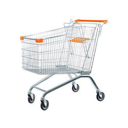 Stainless Steel Four-wheel Supermarket Shopping Trolley