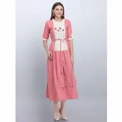 Pink Fancy Cotton Kurti