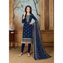 Stitched Blue Ladies Designer Suit