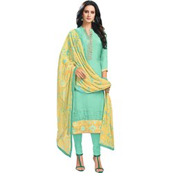 Rajnandini Sea Green Chanderi Silk Embroidered Semi-Stitched Dress Material With Printed Dupatta