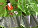 Ladies Designer Embroidered Linen Saree