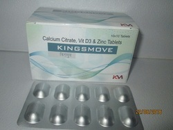 Calcium Citrate Vit D3 and Zinc Tablets, Packaging Type: Box
