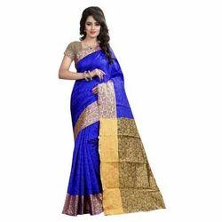 Ladies Blue Printed Saree with Blouse Piece, Saree Length: 5.5 m