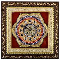Ramdev Handicrfts Multicolor Marble Flower Wall Clock