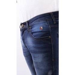 Faded Button Mens Blue Casual Denim Jeans, Waist Size: 28 -38