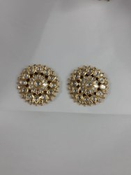 Ladies Gold Natural Uncut Diamond Polki Jadau Earring