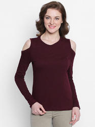 Ladies Cold Shoulder Maroon T Shirt