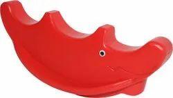 Red Plastic 3 Seater Rhino Rocker