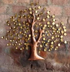 Golden Color Coated Wrought Iron Decorative Handicraft Display Tree, 1, Size/Dimension: Optional
