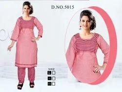 Peach Color Cotton Kurti with Salwar Set