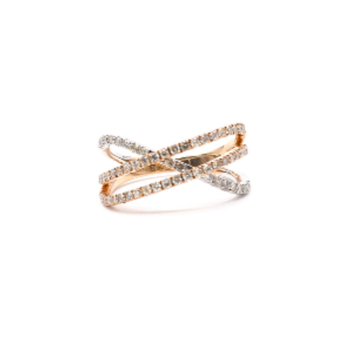 0.58 CTS Diamond Ring-18 KT Rose Gold Ring with Diamonds- Crisscross Ring