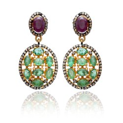 Diamond, Emerald and Ruby Sterling Silver Earring