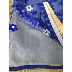 Party Wear Embroidered Cotton Saree, 5.5 m (separate blouse piece)