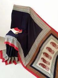 Bagru Natural Print Cotton Mulmul Saree