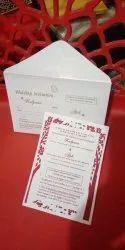 Pull-Out Insert White Seed Paper Wedding Invitation Card