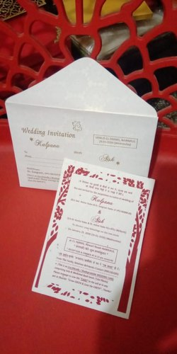 Pull Out Insert White Seed Paper Wedding Invitation Card Rs 55