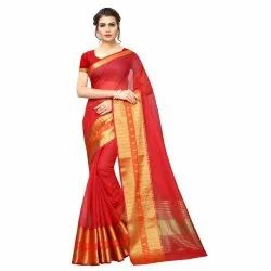 Red Colored Poly Silk Woven Casual Wear Saree