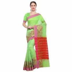 Green Colored Chanderi Silk Casual Saree