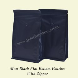 Flat Bottom Pouch Normal Zipper with 45 Degrees (Brown Paper Bags)