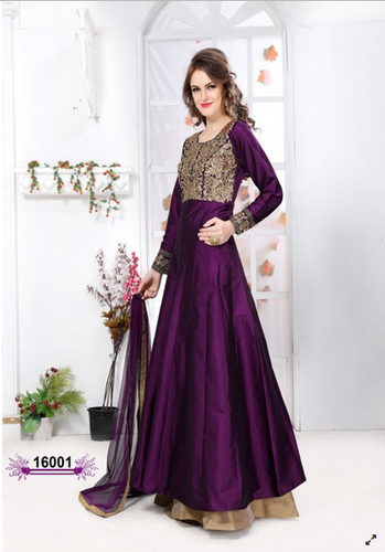 7d63f06be23 Purple Colored Tapeta Silk Anarkali