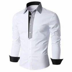 White Cotton Men Collar Plain Shirt, Size: L