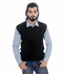 Purfli Navy blue Men Half Sweater