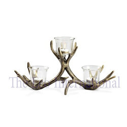 3 arm decorative aluminium metal Candle Holder with glass votive