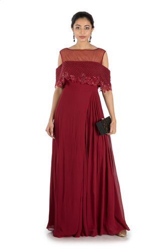 b9666482c6 Wine Layered Jumpsuit With Offshoulder Cape