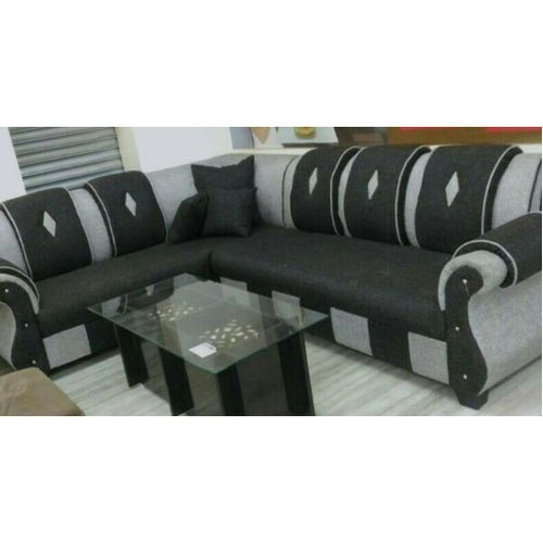 Black & Grey L Shaped Sofa Set, Rs 35000 /set, Taj Curtains | ID ...