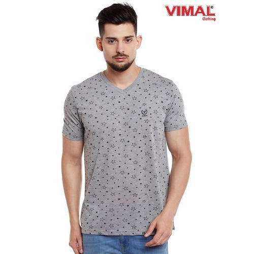 6491dc69 Vimal Printed Grey Melange V Neck Cotton T Shirt For Men ...