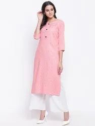 Jaipur Street Printed Rayon Kurta for Women - Long Length suitable for all age groups