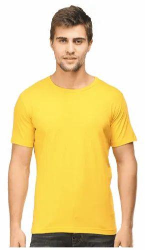 332e2f8597 Half Sleeve Cotton Mens Round Neck T Shirt Plain Yellow, Rs 150 ...