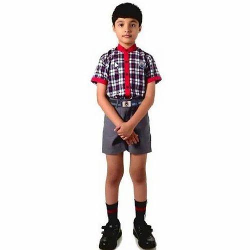 57372ff95 Checked Half Sleeves Boys Shirt And Half Pant School Uniform Set, Rs ...