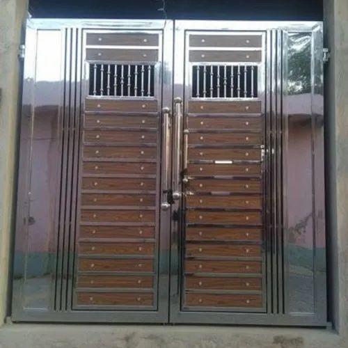 Polished 304 Stainless Steel Door at Rs 1200/square feet | इस्पात के  दरवाजे, स्टील डोर - Lateef Interior, Delhi | ID: 20507029355