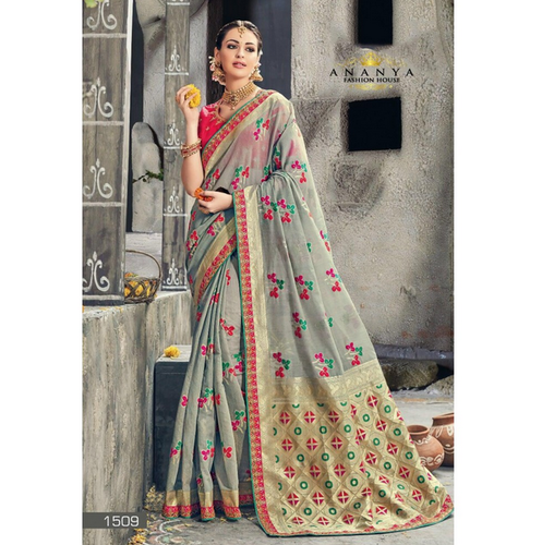4780fb6d26dd3 Printed Light Grey Banarasi Silk Saree With Pink Blouse AFS111-1509 ...