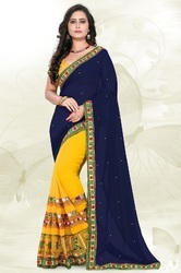 Embroidered Designer Navy Blue And Yellow Color Saree