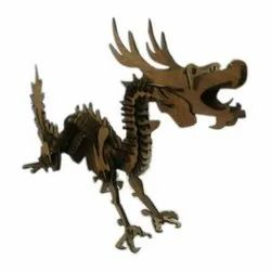 Brown Dragon Wooden Showpiece, For Home Decor