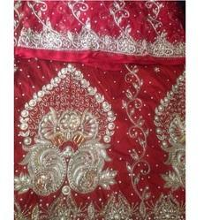 Red Heavy Beaded George Fabric