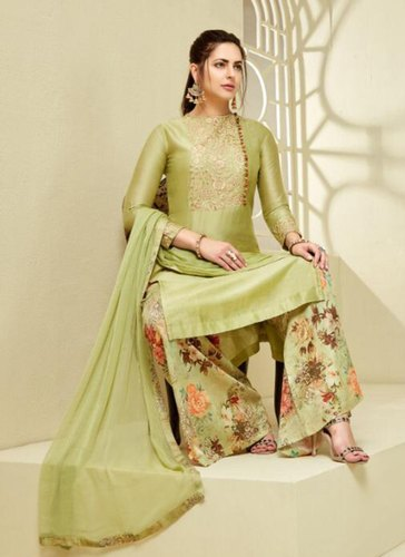 f0a3e7ad703c3 Light Green Digital Printed Cotton Palazzo Suit