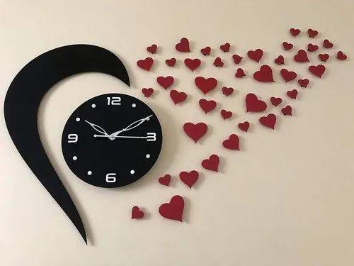 Mu Creation Love Heart Shape Acrylic Wall Clock For Home