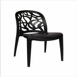Plastic Arm Less Black Cafe Chair