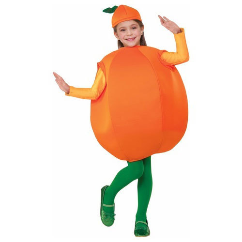 Orange And Green Polyester Kids Fruit Costume