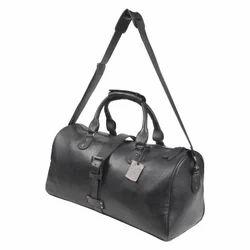 Black Genuine Leather Duffle Bag