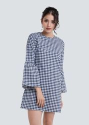 Checked Short Dress With Trumpet Sleeves