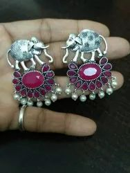 Red ZincOxodised Elephant Earring