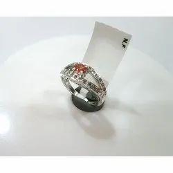 Orange Sapphire Sterling Silver Ring