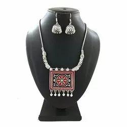 Meena Rectangular Pendant Necklace Set