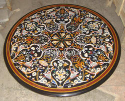 Pietra Dura Table Tops Rectangular Shape Black Marble
