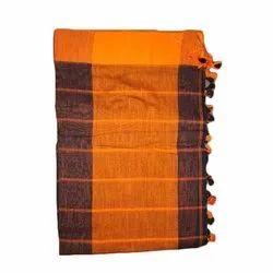 Laxmi Printing 6.3 M (with Blouse Piece) Orange Khadi Cotton Saree